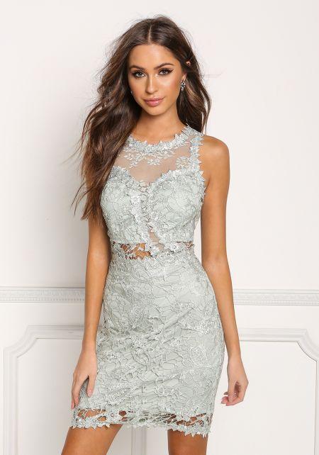 Sage Tulle Floral Embroidered Dress