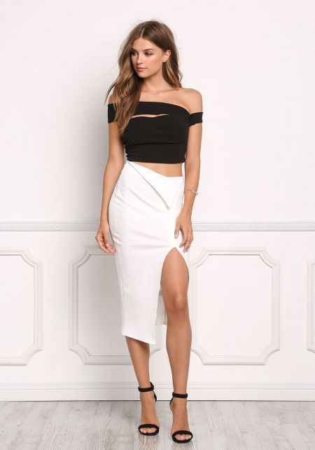 White Fold Over High Rise Slit Skirt