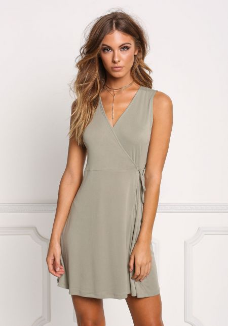 Sage Ribbed Knit Wrap Shift Dress