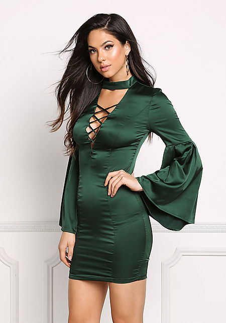 Hunter Green Satin Plunge Bell Sleeve Bodycon Dres