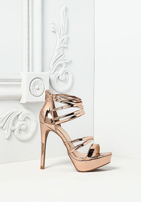 Rose Gold Chrome Multi Strap Heels