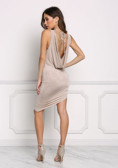 Taupe Draped & Ruched Lustrous Bodycon Dress