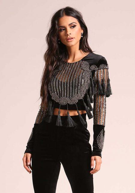 Black Velvet Beaded & Glitter Tassel Crop Top