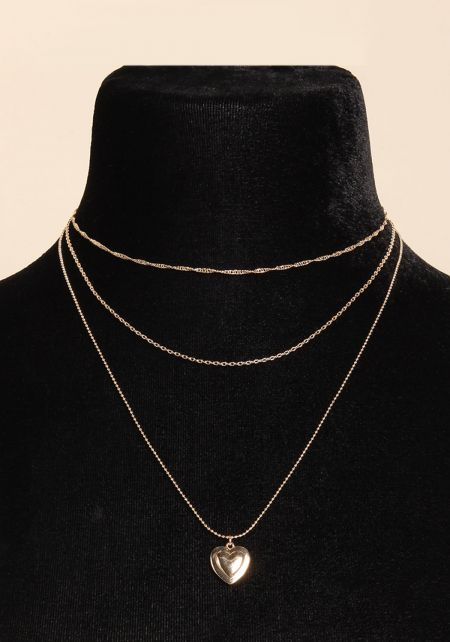 Gold Heart Pendant Layered Choker