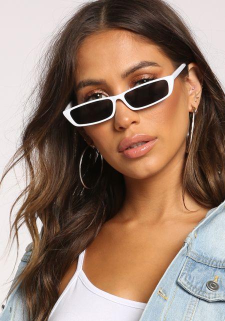 White Skinny Rectangular Sunglasses