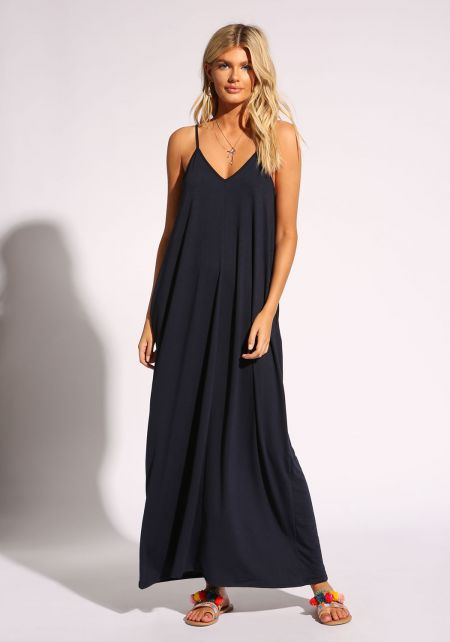 Navy Jersey Knit Pocket Maxi Dress