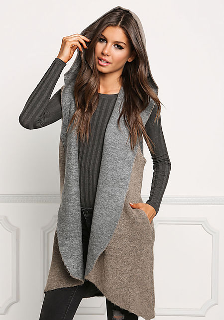 Mocha Two Tone Soft Knit Vest