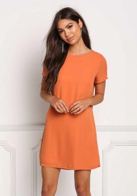 Orange Basic Shift Dress
