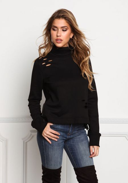 Black Turtleneck Distressed Sweater Top
