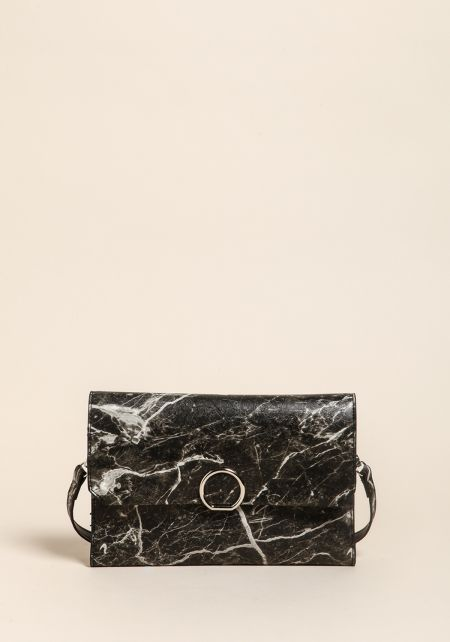 Black Marble Leatherette Clutch