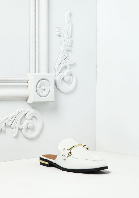 White Leatherette Loafer Slides