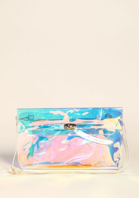 Silver Clear Iridescent Clutch