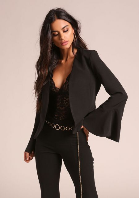 Black Bell Sleeve Open Front Blazer