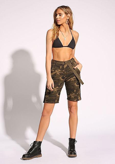 Black Camo Side Stripe Belted Bermuda Shorts