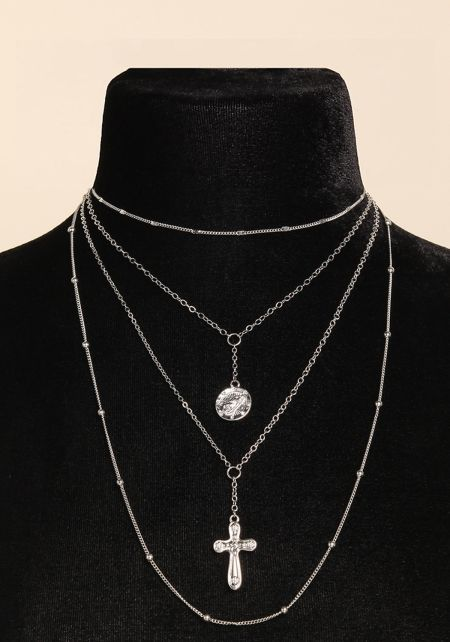 Silver Thin Chain Layered Cross Pendant Necklace