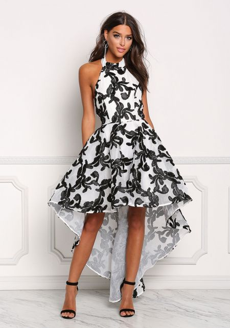 Black and Ivory Embroidered Hi-Lo Flared Dress