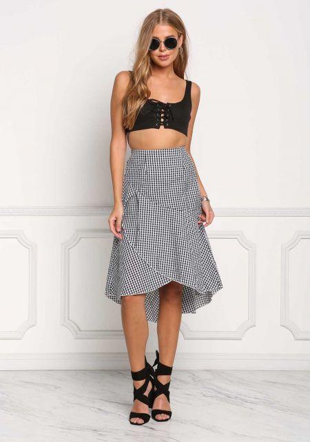 Black Gingham Faux Wrap Skirt