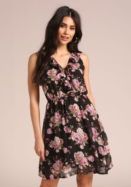 Black Floral Chiffon Ruffle Flared Dress