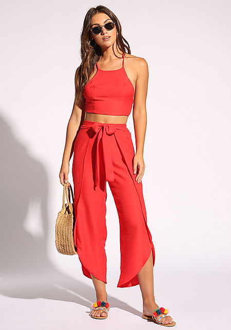 Red Tie Front Culottes Pants