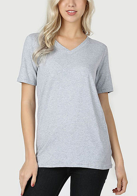 Heather Grey Jersey Knit V Neck Tee