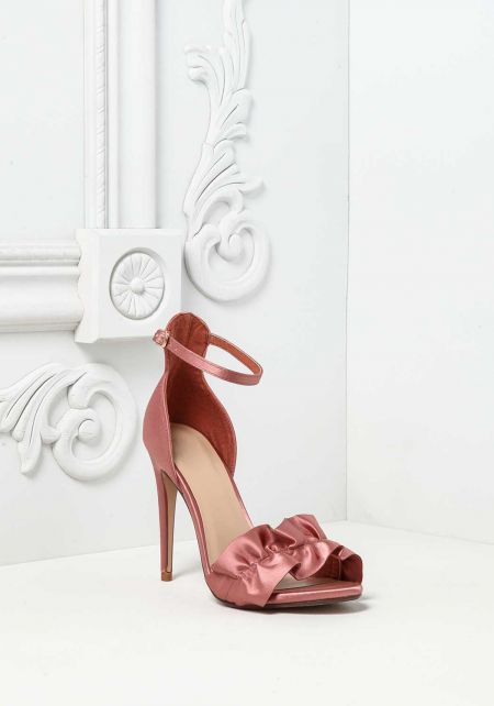 Mauve Ruched Satin Ankle Strap Heels