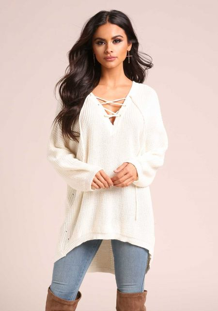 Ivory Lace Up Hi-Lo Sweater Top