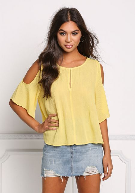 Yellow Crepe Cold Shoulder Blouse