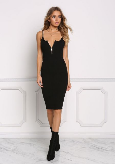 Black Ribbed Knit Zipper Bodycon Dress