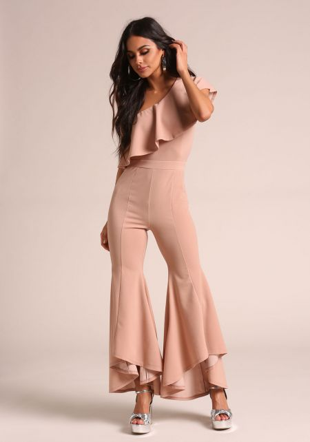 Taupe Ruffle One Shoulder Bell Bottom Jumpsuit