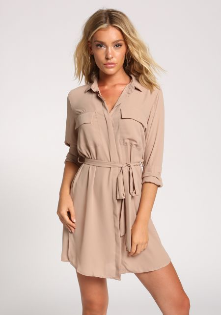Khaki Collared Pocket Waist Tie Dress