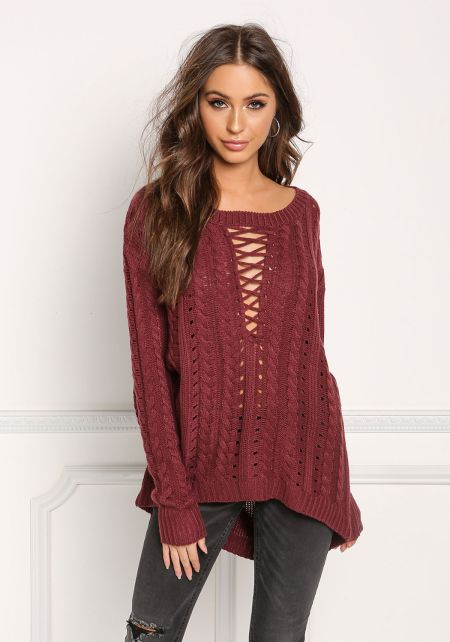 Burgundy Plunge Cross Strap Cable Knit Sweater Top