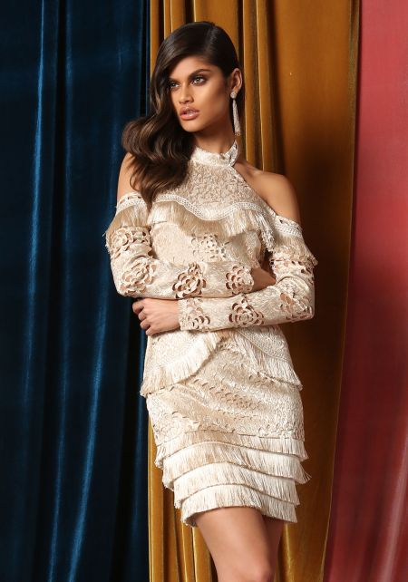 Gold Tassel Tiered Embroidered Cold Shoulder Dress