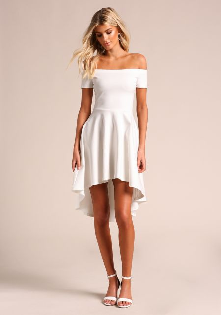 Off White Off Shoulder Hi-Lo Flared Dress