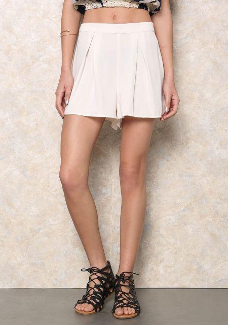 Ivory Box Pleat Shorts