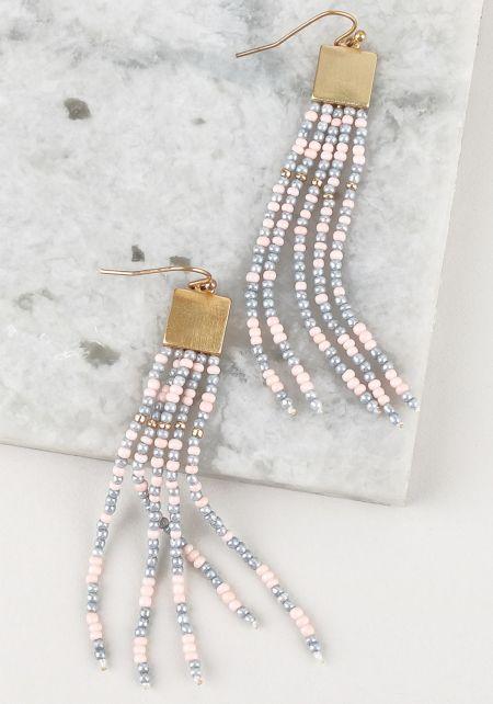 Grey Beaded Fringe Earrings