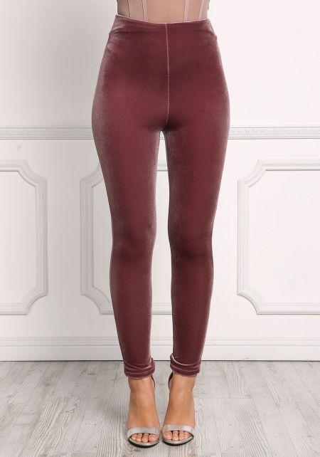 Mauve High Rise Velvet Pants