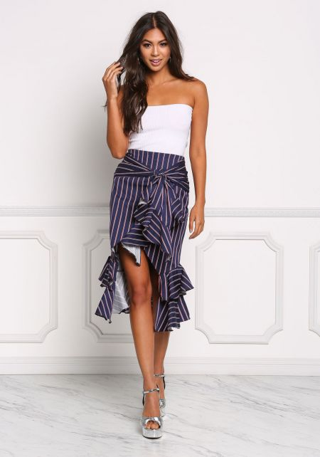 Navy Pinstripe Ruffle Tiered Skirt