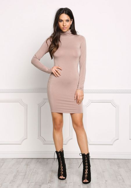 Taupe Jersey Knit Mock Neck Bodycon Dress