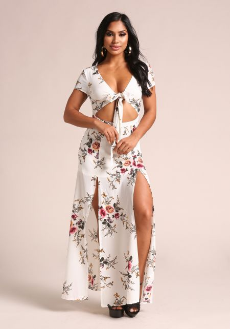 White Floral Cut Out Two Slit Maxi Dress