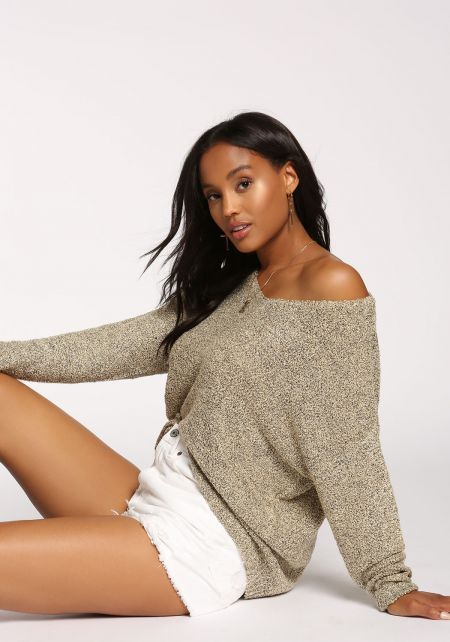 Oatmeal Marled Knit Pullover Sweater Top