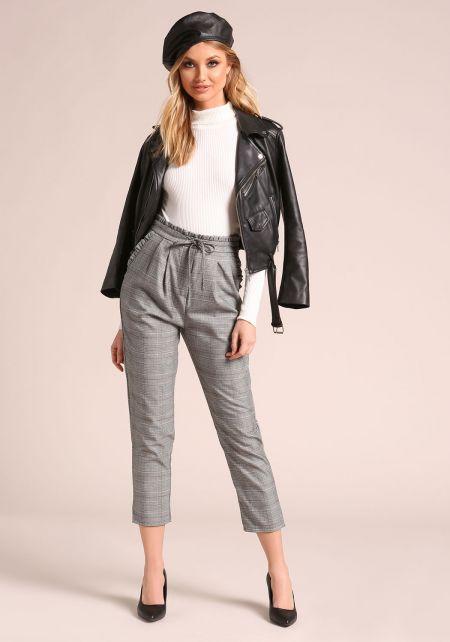 Grey Houndstooth Ruffle Straight Leg Pants