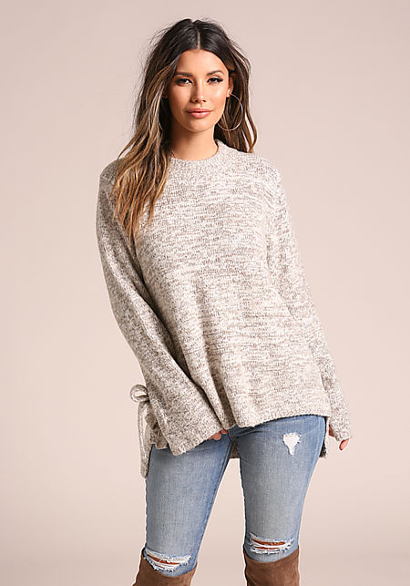 Taupe Soft Thick Marled Knit Hi-Lo Sweater