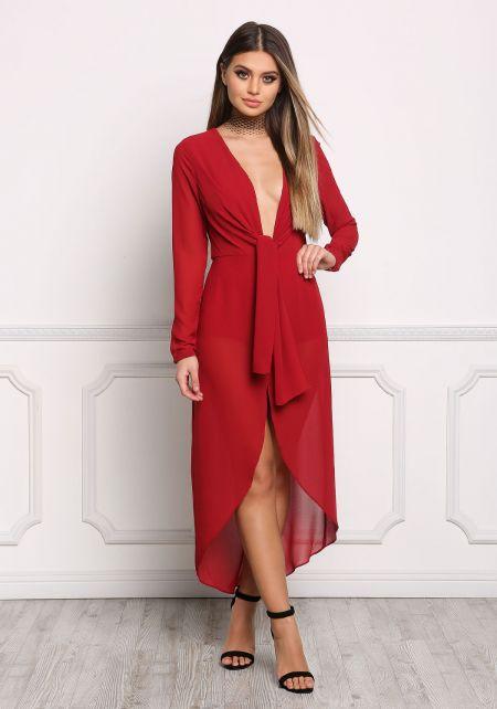 Dark Red Plunge Faux Wrap Chiffon Dress