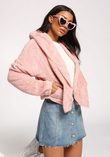 Dusty Pink Faux Fur Hooded Cropped Coat
