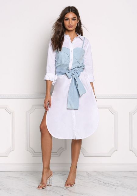 White Chambray Layered Shirt Dress