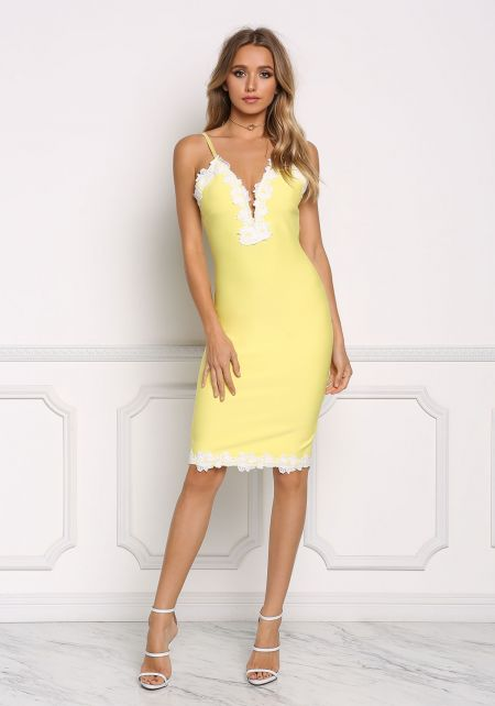 Yellow Floral Embroidered Plunge Bodycon Dress