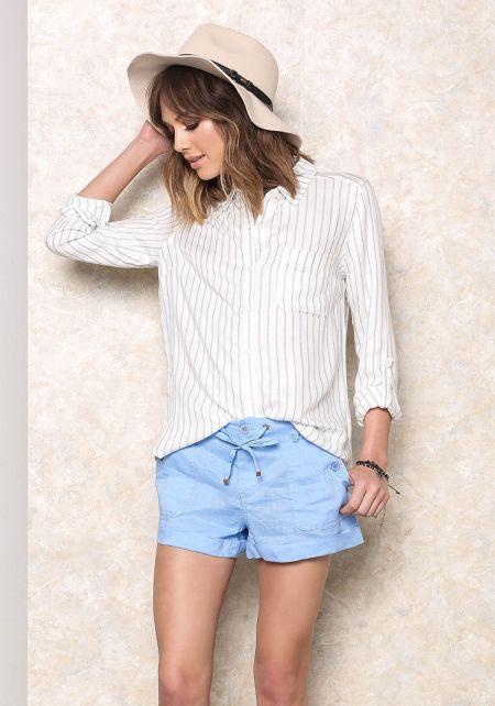 Blue Button Trim Linen Shorts