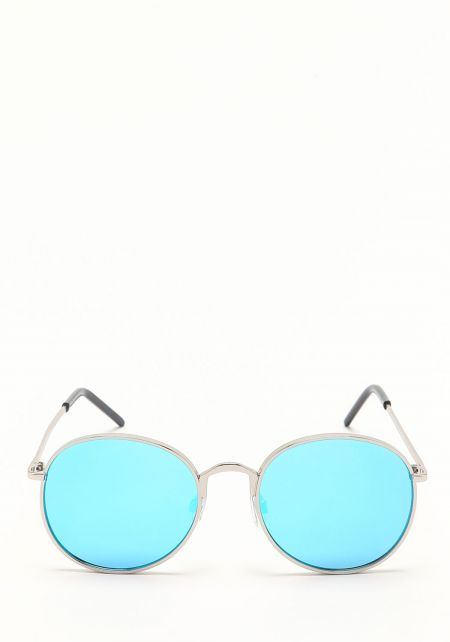 Zero UV Blue Round Mirrored Sunglasses