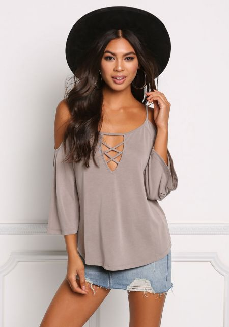 Taupe Cold Shoulder Cross Strap Top
