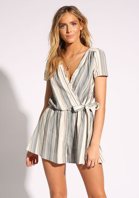 White and Black Faux Wrap Flared Romper